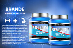 Sport nutrition product containers ad. Weight gainers set. Whey protein bottles. 3D vector product packaging. Jars of Stock Image