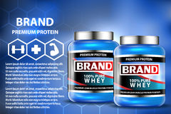 Sport nutrition product containers ad. Weight gainers set. Whey protein bottles. 3D vector product packaging. Jars of Royalty Free Stock Photo