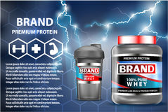 Sport nutrition product containers ad. Weight gainers set. Whey protein bottles. 3D vector product packaging. Jars of. Bodybuilding food supplements Royalty Free Stock Photos