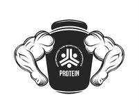 Sport nutrition. Protein jar. Fitness. Protein, dumbbell, energy drinks. Bodybuilding food supplement monochrome vector Royalty Free Stock Image