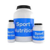 Sport Nutrition Supplement containers isolated on white. 3d illustration Stock Image
