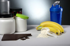 Sport Nutrition Supplement containers with shaker Stock Photo