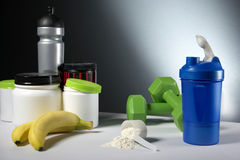 Sport Nutrition Supplement containers with shaker Stock Image