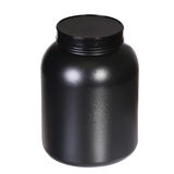Sport Nutrition, Whey Protein or Gainer. Black Plastic Jar Stock Images
