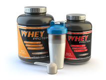 Sport nutrition, whey protein powder for bodybuilding with plast Royalty Free Stock Photo