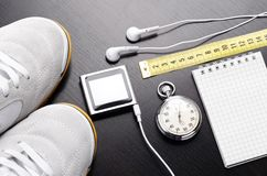 Sport objects. For jogging or gym training, top view Royalty Free Stock Photo
