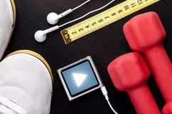 Sport objects. For jogging or gym training, top view Royalty Free Stock Images