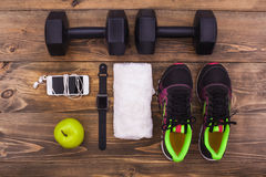 Sport objects equipment  healthy active lifestyle Royalty Free Stock Photography