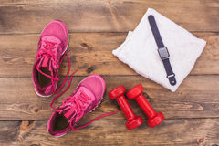 Sport objects equipment isolated healthy active lifestyle Stock Photos