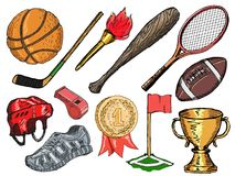 Sport objects. Set of doodle, sketch illustrations of sport objects Stock Photography