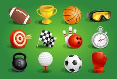 Sport objects symbols and icons set Stock Photos