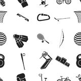 Sport- och konditionmodellsymboler i svart stil Den stora samlingen av sport- och konditionvektorsymbolet lagerför illustrationen Royaltyfri Fotografi