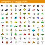 100 sport- och konditionsymboler ställde in, tecknad filmstil royaltyfri illustrationer