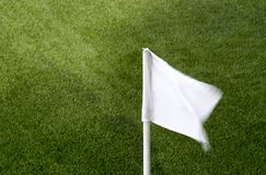 Sport- och lekbegrepp - som är nära upp av hörn för fotbollfält med arkivbild
