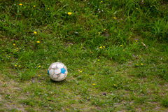 Sport. Old dirty soccer ball on grass. Football. Team sport. Old used dirty soccer ball on the green grass outdoor. Football Royalty Free Stock Images