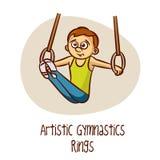 Sport olimpici di estate Anelli artistici di ginnastica illustrazione vettoriale