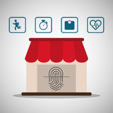 Sport online application finger print wearable technology. Vector illustration eps 10 Royalty Free Stock Photo