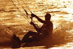 Sport op zonsondergang Stock Fotografie
