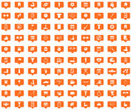 Sport orange message icons set. Images in filled chat bubbles on white background Stock Photos