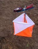 Sport orienteering. Prism for competitions to sport orienteering in forest Royalty Free Stock Images