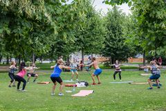 Sport outdoors. A group of people doing exercises in the park royalty free stock photos