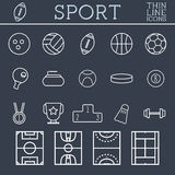 Sport outline icons, trendy thin line design, blue Royalty Free Stock Photos