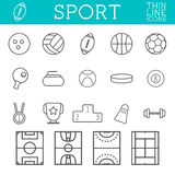 Sport outline icons, trendy thin line design, isolate on white background. Soccer, volley ball, basketball, hockey and Royalty Free Stock Image