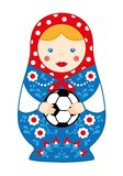 Russian cute traditional toy nesting doll girl matroshka with football. stock photography