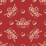 Sport pattern. Cricket retro background. Seamless of accessories.  Royalty Free Stock Photography
