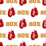 Sport pattern design - box seamless texture with red boxing gloves Stock Photography