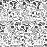 Sport pattern with vintage badges and labels Stock Photo