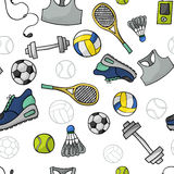 Sport pattern. Vivid sport background. Seamless pattern Royalty Free Stock Images