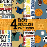 Sport patterns set. Set of four sport seamless patterns, text structures with name of sports and motivations, different balls and football uniform Stock Image