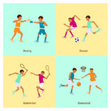 Sport people activities icon set Royalty Free Stock Images