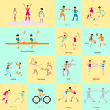 Sport people activities icons set Royalty Free Stock Images