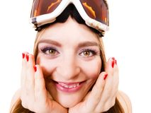 Attractive lady with goggle. Royalty Free Stock Image