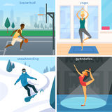 Sport People 2x2 Design Concept Stock Images