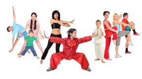 Sport people group of nine, collage Royalty Free Stock Images