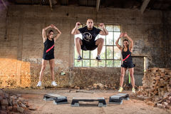 Sport people jump off on their condition grit training Stock Images