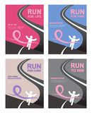 Sport people with Running Pink Ribbon, Breast Cancer Awareness at the fish line Royalty Free Stock Photos