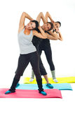 Sport people team doing fitness exercise. Sport people team standing on colorful mats and doing fitness exercises together royalty free stock images