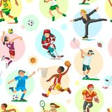 Sport people woman and man flat fitness activities workout athletic sportsmen characters vector illustration seamless Stock Photo