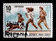 Sport per tutti Correndo, serie di sport, circa 1979 Fotografie Stock Libere da Diritti