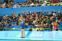 Sport photographers shooting swimming competition at Olympic Aquatic Center during Rio 2016 Olympic Games Royalty Free Stock Photos