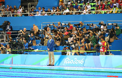 Sport photographers shooting swimming competition at Olympic Aquatic Center during Rio 2016 Olympic Games Royalty Free Stock Image