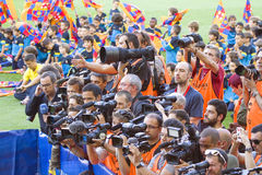 Sport photographers. Unidentified photographers during Brazilian footballer Neymar Da Silva Santos Junior official presentation as new FC Barcelona player, on stock image