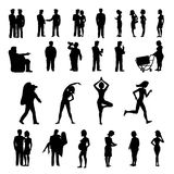 Sport and physical inactivity black silouete set. Good and bad habits. Royalty Free Stock Photo
