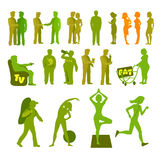 Sport and physical inactivity silouete set. Good and bad habits. Layered vector illustration. Royalty Free Stock Image