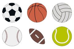 Sport piłek ikona ustawia piłkę nożną, koszykówkę, siatkówkę, baseballa, futbol amerykańskiego i tenisa -, wektor Fotografia Stock