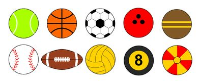 Sport piłek ikony set Płaski ustawiający sport piłek wektorowe ikony dla sieć projekta odizolowywającego royalty ilustracja